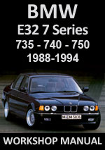 BMW E32 7 Series 730, 740, 750, Service Manual Download PDF